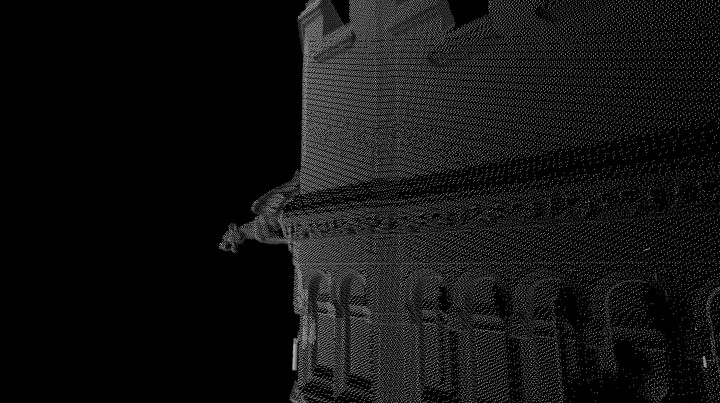 Even closer detail of a creature protruding from the top of the tower. The data is exceptionally clean.